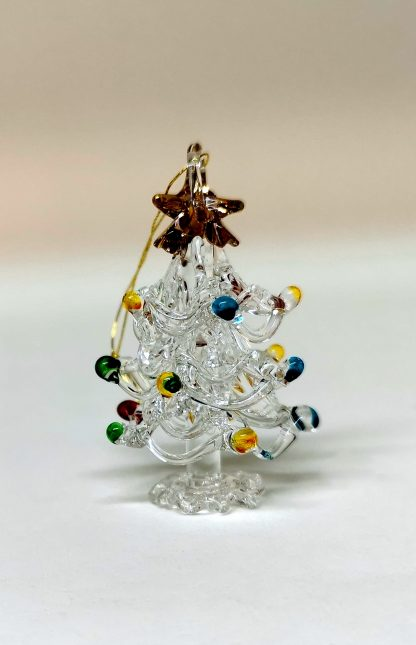 Handmade Glass hanging Christmas Tree Decoration with coloured baubles.
